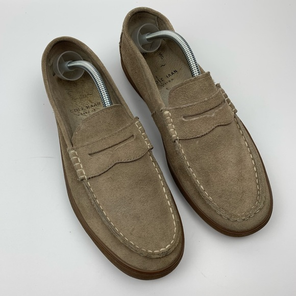 Cole Haan Other - Cole Haan Grandos Nude Suede Penny Loafer 10.5